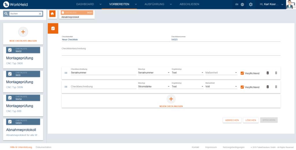 Checkliste-Web-App Workheld Up Close: Checklisten